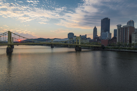 pa: an early morning sunrise at Pittsburgh PA, Editorial