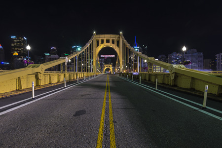 allegheny: An empty Roberto Clemente bridge at  night