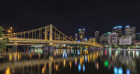 allegheny: A night scene of downtown pittsburgh from north shore.