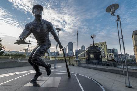 fames: A statue tribute to Roberto Clemente of Pittsburgh pirate.