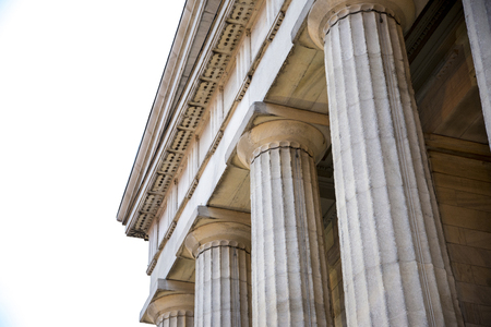 The doric order of classical architecture on white back ground