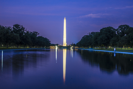 founding fathers: A view of washington monument during dusk Editorial