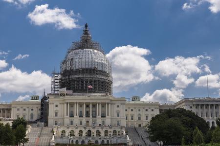 Washington DC capitol hill dome under construction
