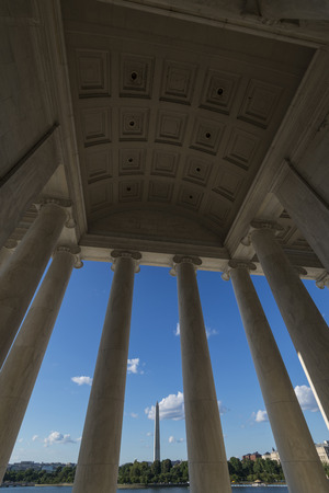 washington monument: Washington monument view within Jefferson memorial Stock Photo
