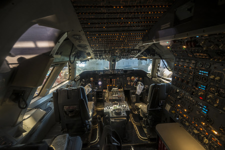 Inside the 747 airplane cockpit and how it looks like Редакционное