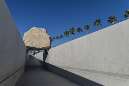 tons: Levitated Mass made of big boulder weighing 340 tons at LACMA