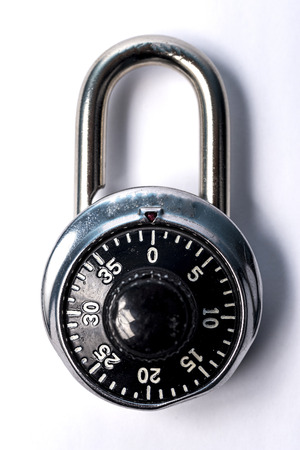 white back ground: Combination lock on a white back ground