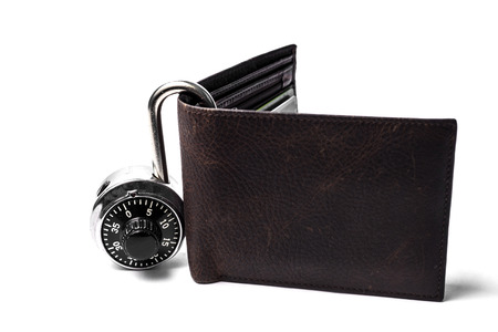 spendthrift: A leather wallet with combination lock on the side