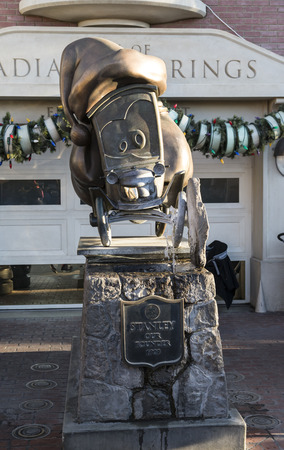 The monument of stanley at Radiator springs, cars movie, in Disney adventure park.
