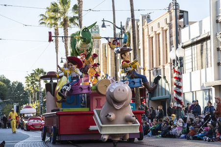 toy story: Cast of Toy story parading at Disney park, Editorial