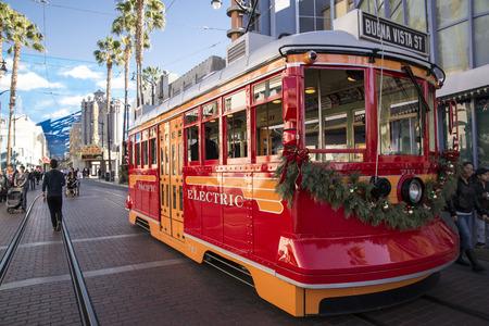 electric avenue: a Disneys adventure park, street electric car.