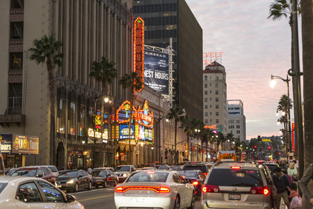 walk of fame: The busy Hollywood boulevard in Loas angeles. Editorial