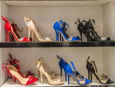 High heel shoe on a display shelve