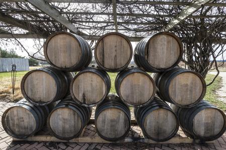 Antique Wine barrels on a vine yard Stock Photo