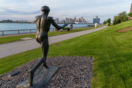windsor: Sculpture along the river side of Windsor ontario. Editorial