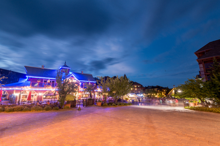 A night scene at Blue mountain village, Collingwood ontario