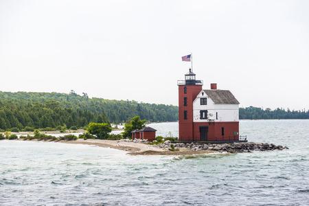 Light house along the lake towards Mackinac island