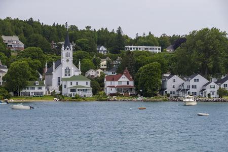 Houses and boats on Mackinac island michigan usa