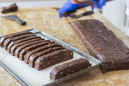 Close up shot of chocolate fudge being prepared.