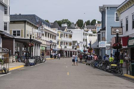 The busy Main street of Mackinac island USA Editorial