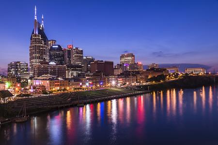 Nashville Tennesse sky line tak during dusk after sunset.