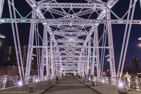 The John Seigenthaler Pedestrian Bridge is a truss bridge that spans the Cumberland River in Nashville, Tennessee, United States. The bridge spans 960 m and is one of the longest pedestrian bridges in the world.