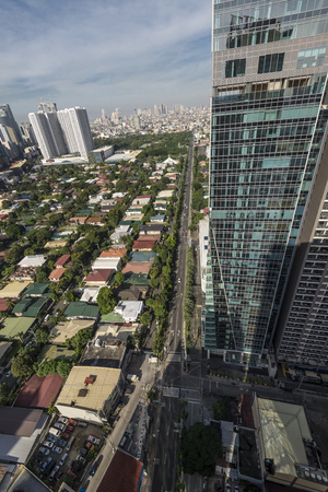 City of Makati looking down from the building. Stock Photo