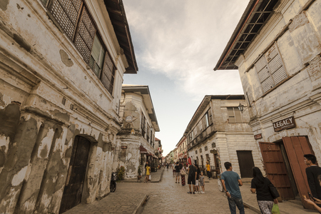 Old house street in Vigan Ilocos sur. Editorial