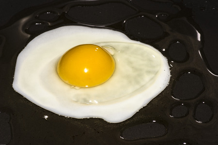 Close up of egg being cook as a sunny side up.