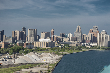 A view of Detroit skyline from ambassador bridge.