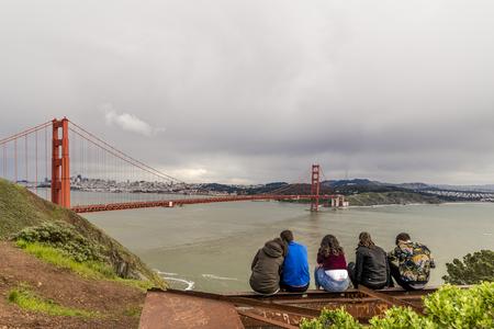 The iconic Gloden Gate bridge of San Francisco California. Banco de Imagens