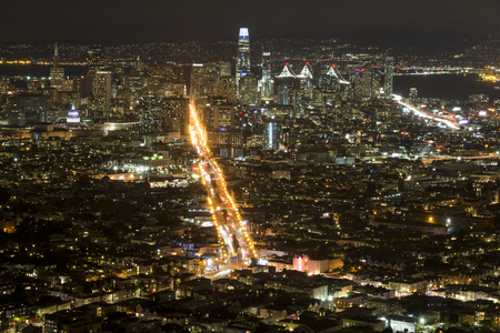 An aerial view of Down town San Francisco taken from Twin Peaks.
