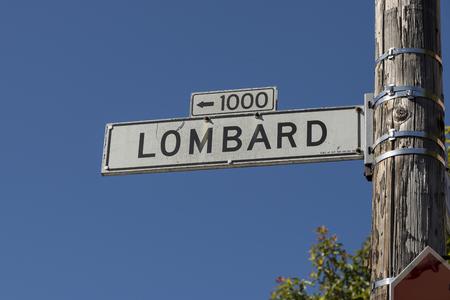 Street sign at Lombard street San Francisco Calif. Editorial