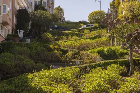 Lombard street San Francisco, the most crooked street in the world. Banco de Imagens