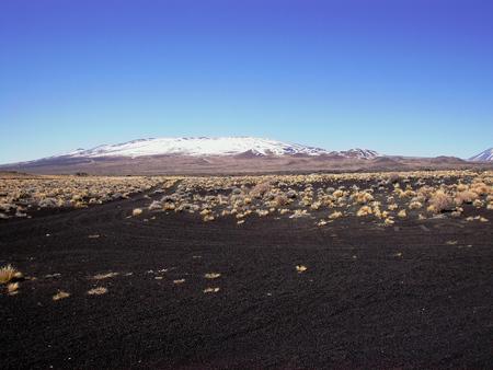 La Payunia 검은 사막 회로 화산 스톡 콘텐츠