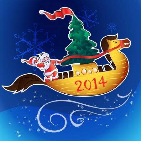 moroz: santa fith christmas tree fly on horse-ship