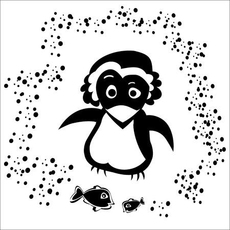 little pinguin in bonnet with fish Vector