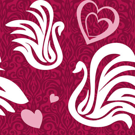 seamless pattern with abstract swans and heart Vector