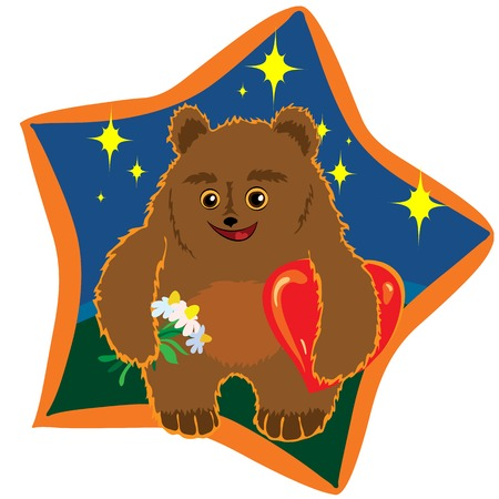 bear with flowers and hearts under the starry sky Vector