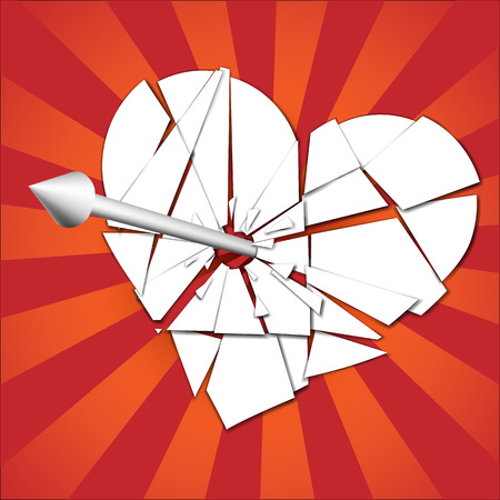 diverging: broken heart pierced by an arrow on the background of diverging rays