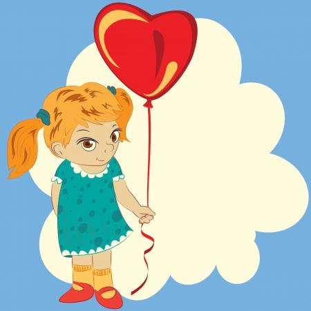雲の背景にバルーン心を持つ少女
