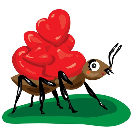 illustration brown ant carries a few hearts Ilustrace