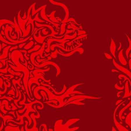 Red background with a stylized dragon tattoo Vector