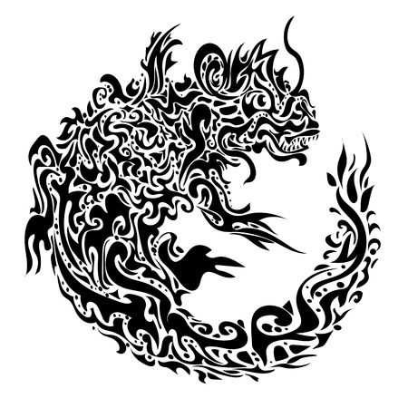 stylized twisted dragon tattoo on a white  Illustration