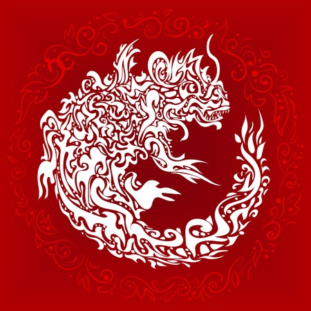 Red background with a stylized twisted dragon tattoo Vector