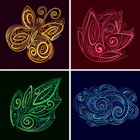 set of nature icons. Imitation volume paper art. Handmade quilling. Vector