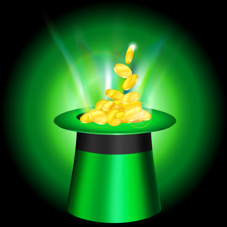 leprachaun: patricks cap with gold coins and bright light