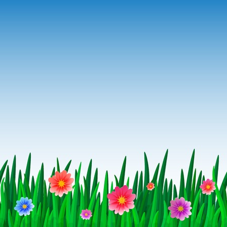 banners with repeating pattern tile of grass with flowers and sky Vector