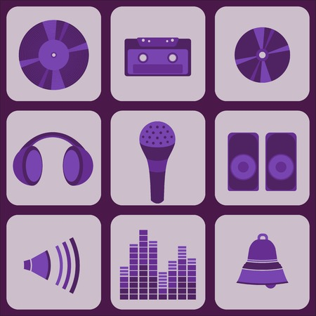 cd recorder: set collection of nine purple music icons for your web design