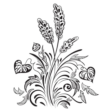 Floral swirl decorative pattern with leaves, grass and spikelets Vector
